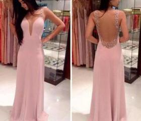 Custom Made Pink A Line V Neck Floor Length Chiffon Prom Dresses, Evening Dresses , Cheap Prom Dresses 2015 Prom Dress