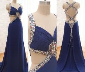 Custom Made Navy Blue Sexy Prom Dresses,long Chiffon Prom Dresses,Backless Prom Dresses , Cheap Prom Dresses 2015 Prom Dress