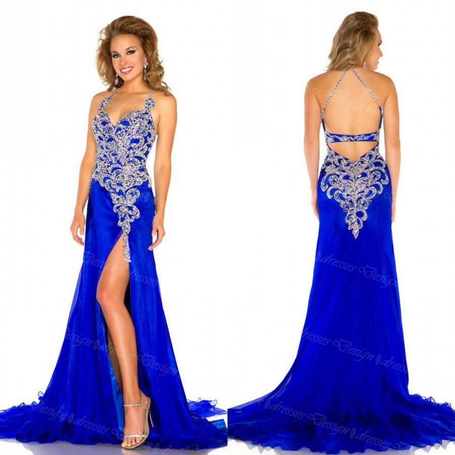 Custom Made Halter V Neck Royal Blue Long Chiffon Prom Dresses ...