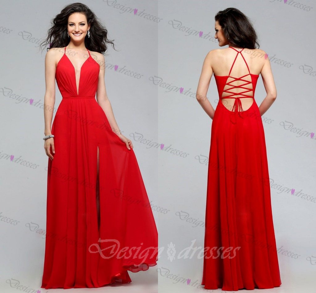 Evening Dress,sexy Evening Dress,v-neck Evening Dress,red Evening ...