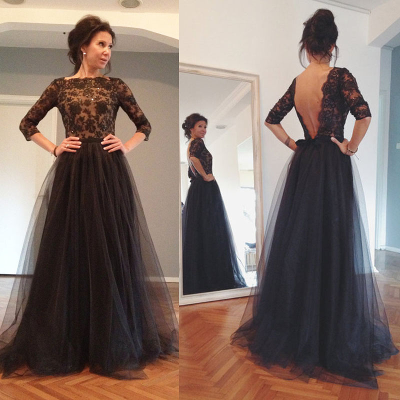 New Arrival Black Prom Dress With Appliques A Line Tulle Evening ...