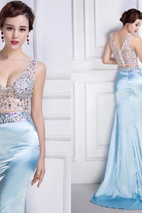 Prom Dress,Beaded Prom dress,sexy prom dress,V-neck prom dress,satin prom dress,prom dresss 2018