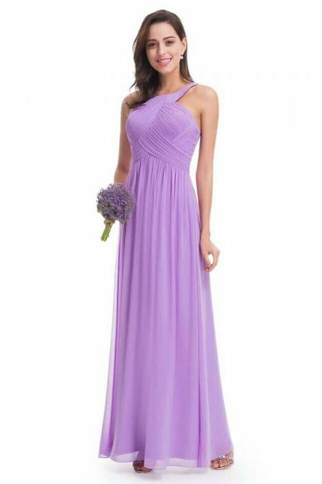 Purple backless halter neck chiffon Long prom dress 2018