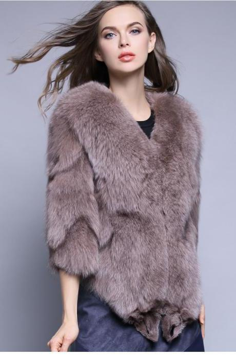 Fashion Fox Wool Furs Thicken and slim Women Winter Coat 2018