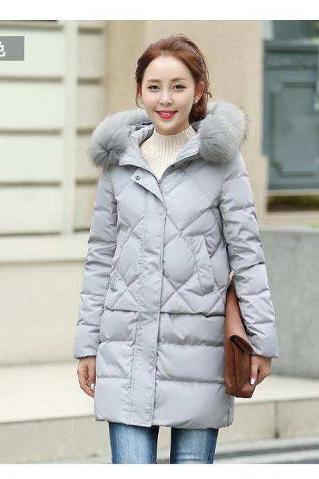 Luxury Animal Fur Decoration High Waist Down Jacket - gray 2018