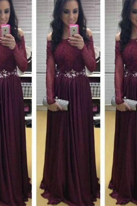 Off the Shoulder Maroon Prom Dresses 2018 New Long Sleeve Evening Dress vestidos de festa vestido