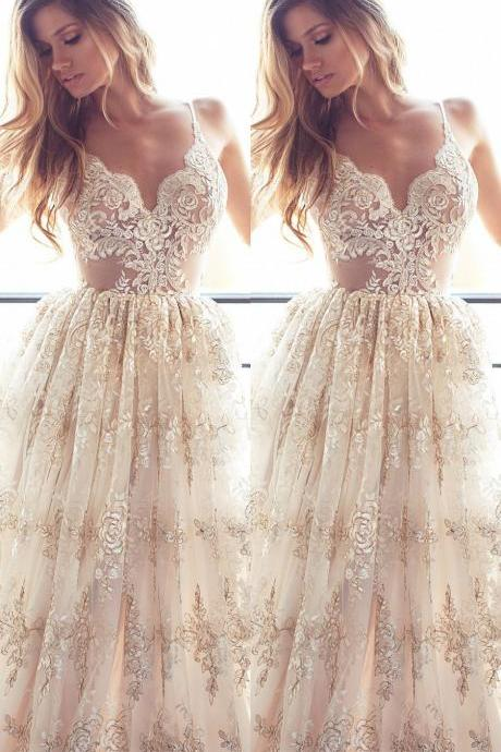 2018 Spaghetti Straps Low Back Summer Wedding Dress Boho Bridal Gown with Appliques Lace