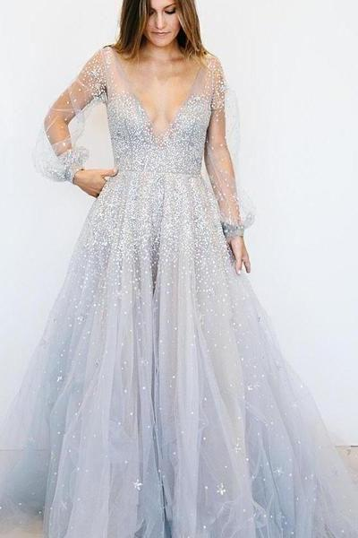 Tulle Sequin long Sleeve Prom Dresses Party Dresses 2019