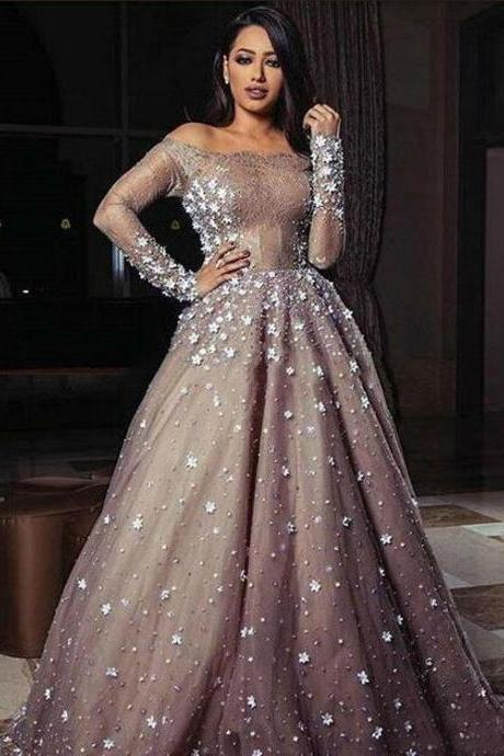 Tulle Sequin off shoulder long Sleeve Prom Dresses Party Dresses 2019