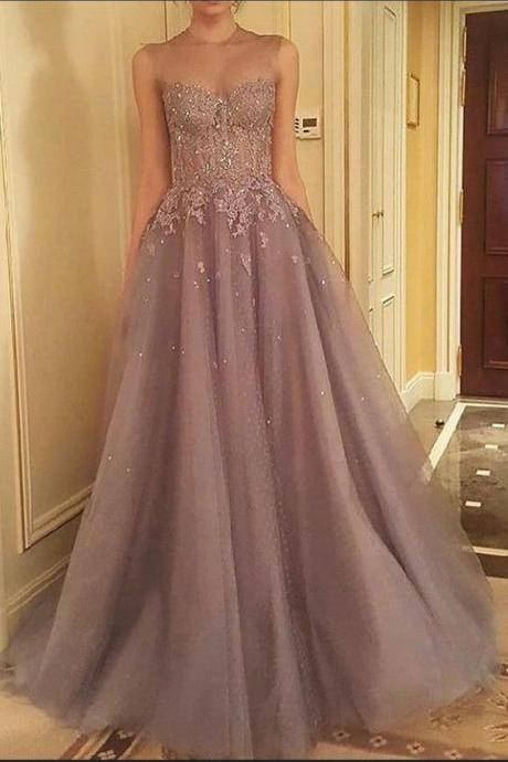 Tulle Sleeveless Gray Prom Dresses Party Dresses 2019