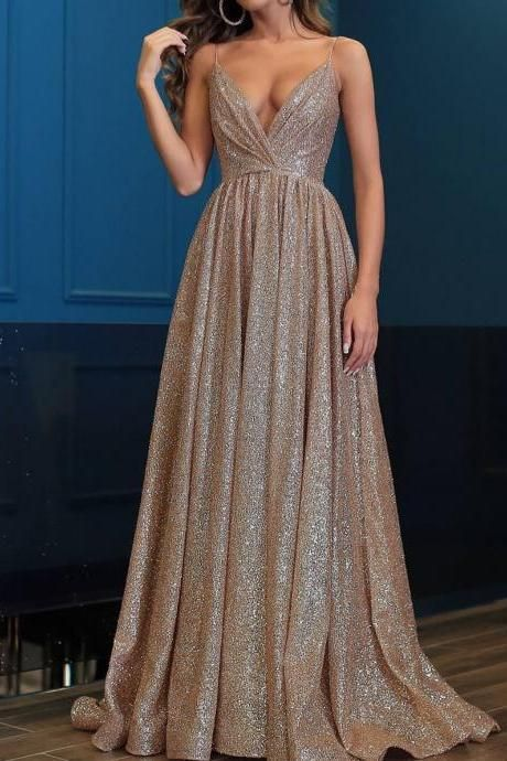Sequin V-neck Sleeveless Prom Dresses Party Dresses 2019