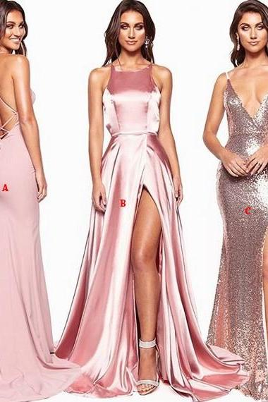 Elegant Sequin V-neck Sleeveless Prom Dresses Party Dresses 2019
