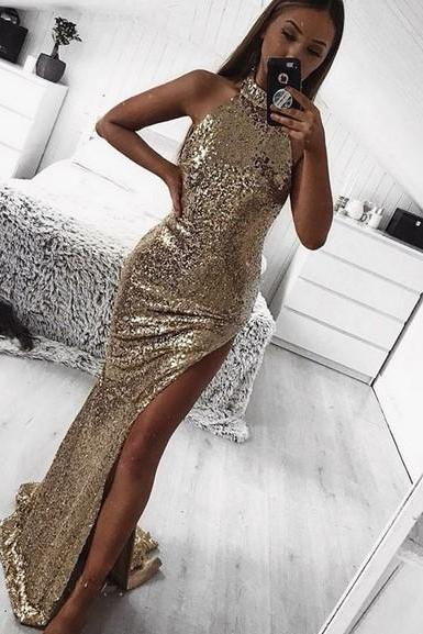 Charming Sequin Sleeveless Long Prom Dresses Party Dresses 2019