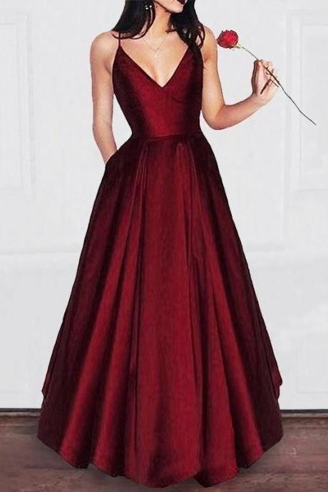 A-line Burgunsy Long Prom Dress Evening Dress Formal dress party dress 2019