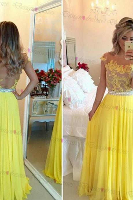 Elegant cap sleeve appliques A line floor length evening dress,zipper back prom dress,graduation dress,party dress