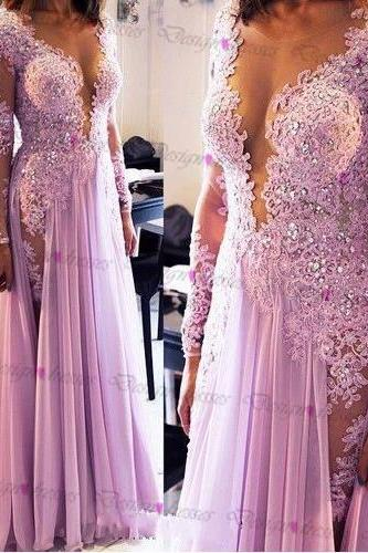 Sexy V-neck long sleeve Lace chiffon long prom dress on luulla dress 2016 evening dress formal dress for party