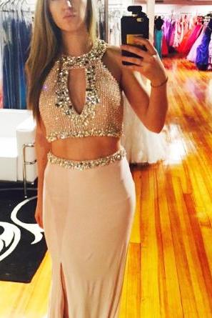 2 pieces beading chiffon sexy long prom dress 2016 evening dress party dress