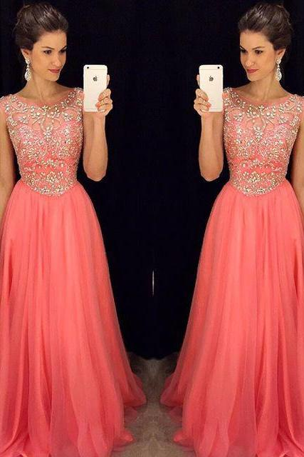 New Arrival pink O-neck Beaded Bodice Watermelon Chiffon Prom Dresses 2016,S870