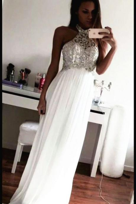 Beading Prom Dresses,Charming White Evening Dress,White Prom Gowns,High Neck Prom Dresses,2016 New Prom Gowns