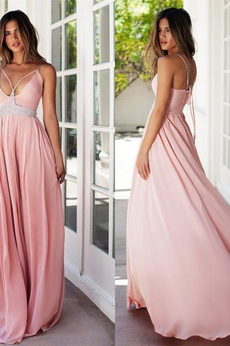 V-Neck Sleeveless Chiffon Beaded A-line Long Prom Dress, Evening Dress