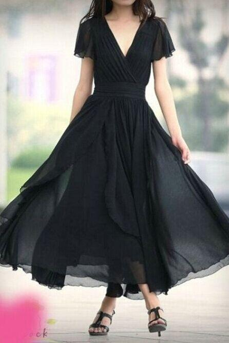 V-Neck Ruched A-line Bridesmaid Dress, Formal Dress with Short Sleeves