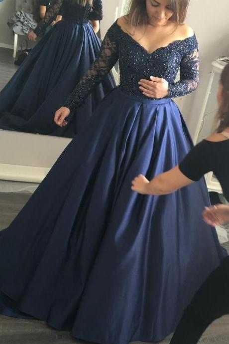 Prom Dresses,Evening Dress,New Arrival Prom Dress,Modest Prom Dress,Long Sleeves Navy Blue off the shoulder Ball Gowns Prom Dresses Lace Appliques Evening Gowns 2017