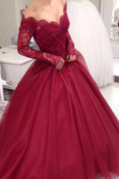 Prom Dresses,Evening Dress,New Arrival Prom Dress,Modest Prom Dress,Long Sleeves Burgundy Ball Gowns Wedding Dresses,Elegant Party Dress