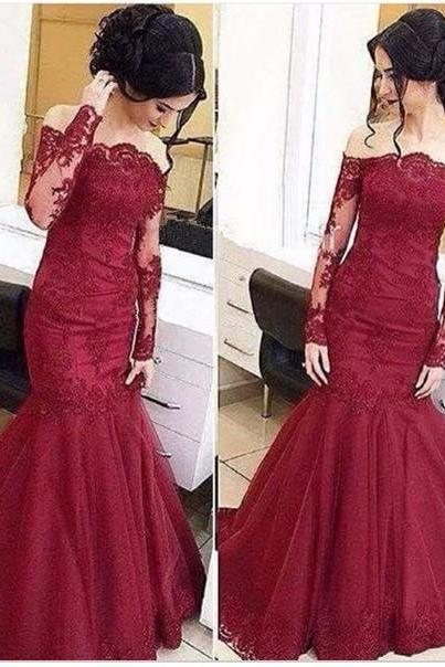 Sex long sleeve lace Floor Length Prom Dresses 2017 Party Dress