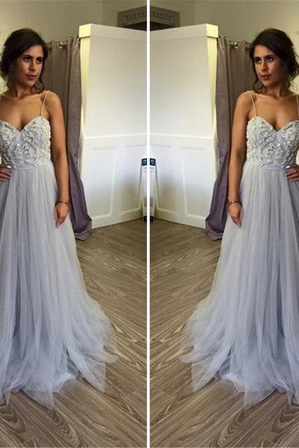 Spaghetti Strap Sweetheart Beaded A-line Long Prom Dress, Evening Dress