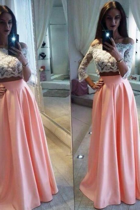 Off-the-Shoulder Lace Two-Piece Satin A-line Long Prom Dress, Evening Dress