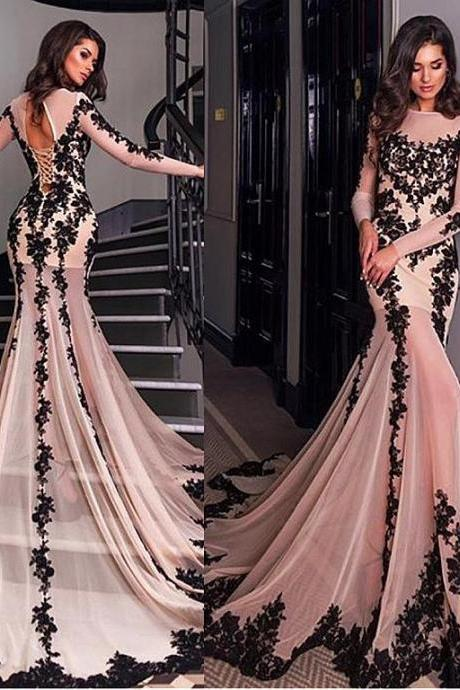 Sheer Long-Sleeved Lace Appliqués Mermaid Long Prom Dress, Evening Dress Featuring Keyhole Lace-Up Back and Long Train