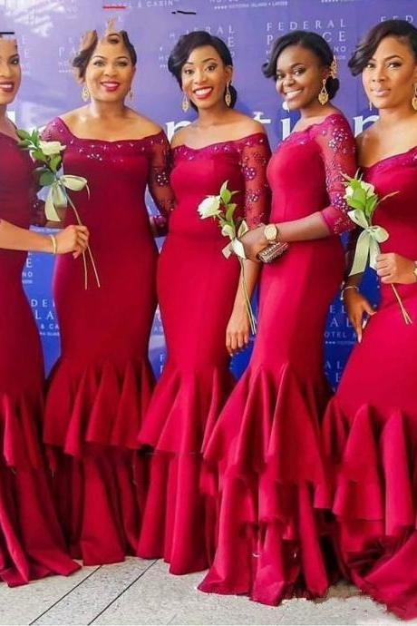 Red long sleeve beaded long prom dress 2017