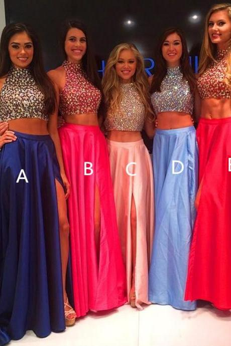 Royal Blue Prom Dresses,2 Piece Prom Gown,Two Piece Prom Dresses,Satin Prom Dresses,New Style Prom Gown,Pearl Pink Prom Dress,Slit Prom Gowns,Red Evening Dress
