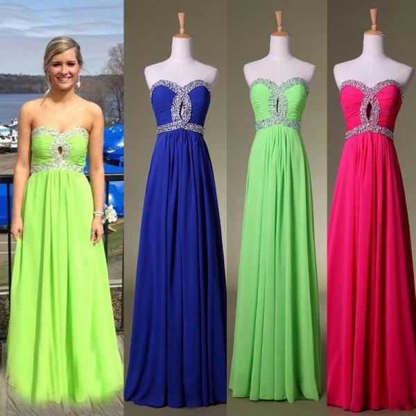 Custom Made Chiffon Evening Prom Dresses Sweetheart Beads Party Gowns, Cheap Prom Dresses 2015 Prom Dress