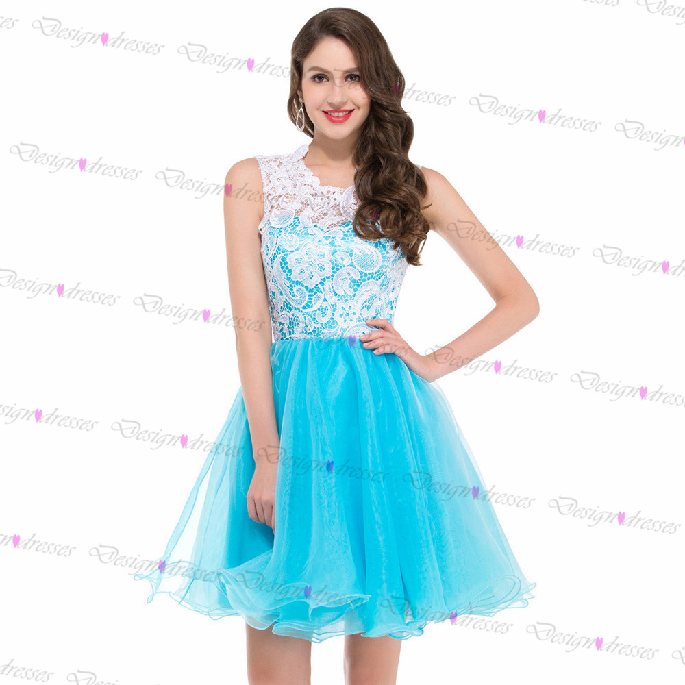 Light blue tulle with white lace short prom dress 2016 for Light blue wedding dress meaning